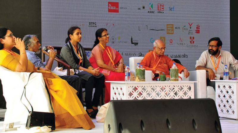 Discussion 'Does love have a religion' in progress at the Kerala Literature Festival at Kozhikode beach on Friday.