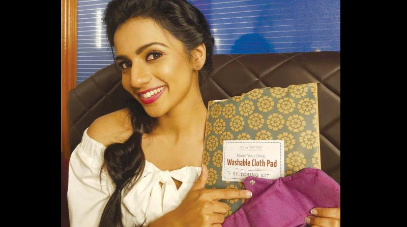 Actress Sruthi Hariharan is spreading awareness about biodegradable pads, and cups.