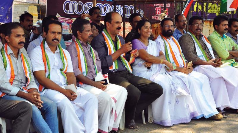 The protestors  under the banner of NGO Association at Kozhikode district collectorate on Thursday. Around 40 employees were transferred in the district without any reason since December, they allege.