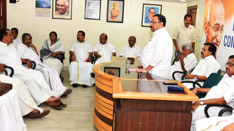 KPCC president M. M. Hassan addresses the Political Affairs Committee meeting in Thiruvananthapuram on Thursday. 	(Photo: A. V. MUZAFAR)