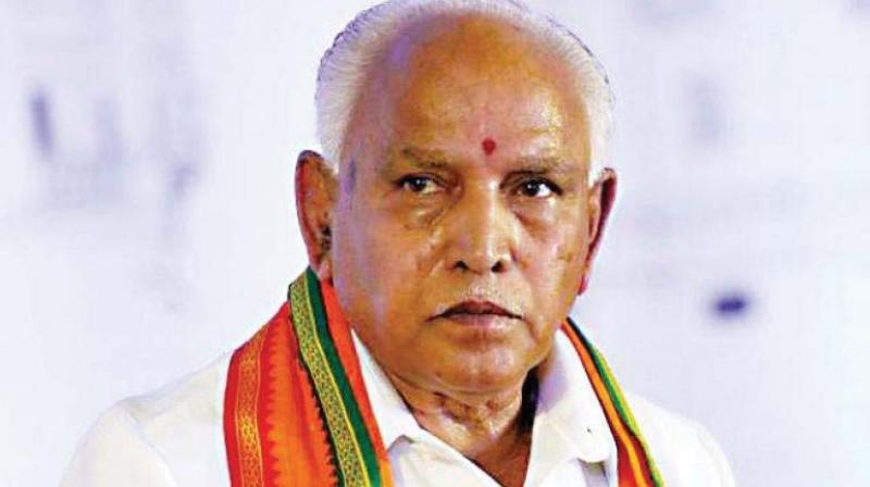 'It will be a mistake on the part of Veerashaiva community members living in this part of the state if they vote for the Congress, which had heaped insult and brought ignominy to their leader Veerendra Patil, who had helped the Congress win about 178 seats in Karnataka,' Yeddyurappa said. (Photo: File)