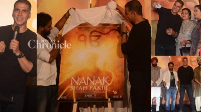 Akshay Kumar launched the trailer of 'Nanak Shah Fakir' at an event in Mumbai on Thursday. (Photo: Viral Bhayani)