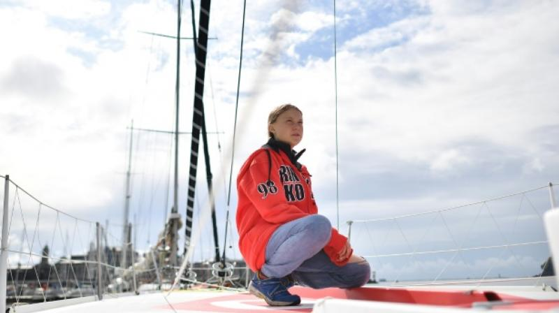 She is heading for a UN summit on a zero-emissions yacht skippered by a member of Monaco's ruling family. (Photo: AFP)