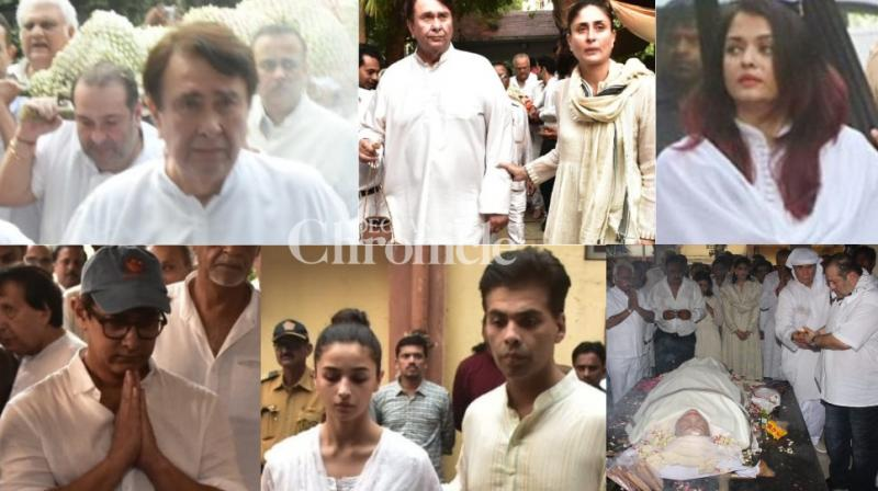 Legendary actor-filmmaker Raj Kapoor's wife Krishna Raj Kapoor passed away on Monday and along with members of the Kapoor family, several stars were seen arriving at her residence in Mumbai and at the funeral. (Photos: Viral Bhayani)