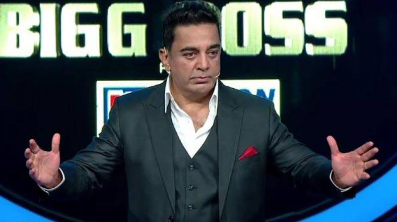 Kamal Haasan as a host on 'Bigg Boss Tamil.'