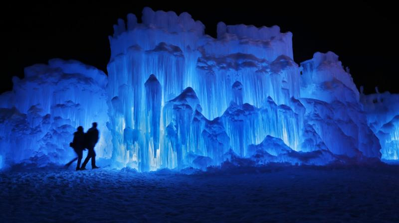 Beautiful Ice castle formed by few icicles looks like the castle from the movie Frozen. (Photo: AP)