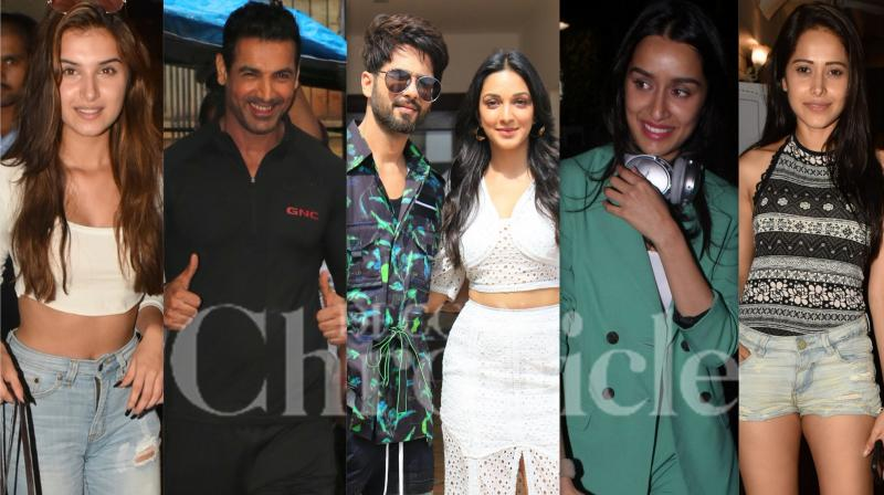 Bollywood celebrities like Shahid Kapoor, Kiara Advani, John Abraham, Tara Sutaria, Janhvi Kapoor and others were spotted in the city of dreams, Mumbai. (Photos: Viral Bhayani)