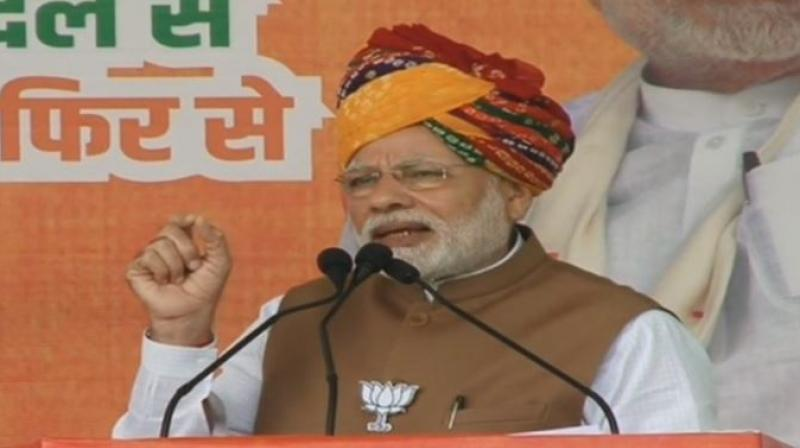 Addressing a rally at Hanumangarh in Rajasthan Prime Minister Narendra Modi said Kartarpur is in Pakistan today because the then Congress leaders had no idea about importance of Guru Nanak Dev and had no respect for Sikh sentiments. (Photo: ANI)