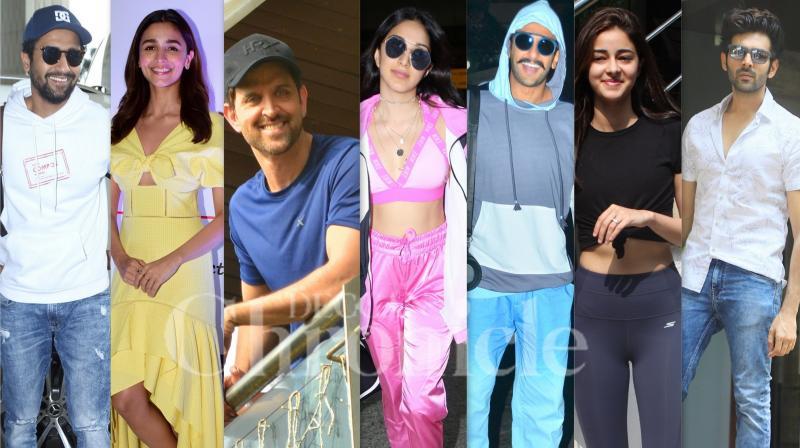 Bollywood celebrities like Hrithik Roshan, Alia Bhatt, Kartik Aaryan, Vicky Kaushal, Kiara Advani, Ananya Panday and others were snapped in the city of dreams, Mumbai. (Photos: Viral Bhayani)