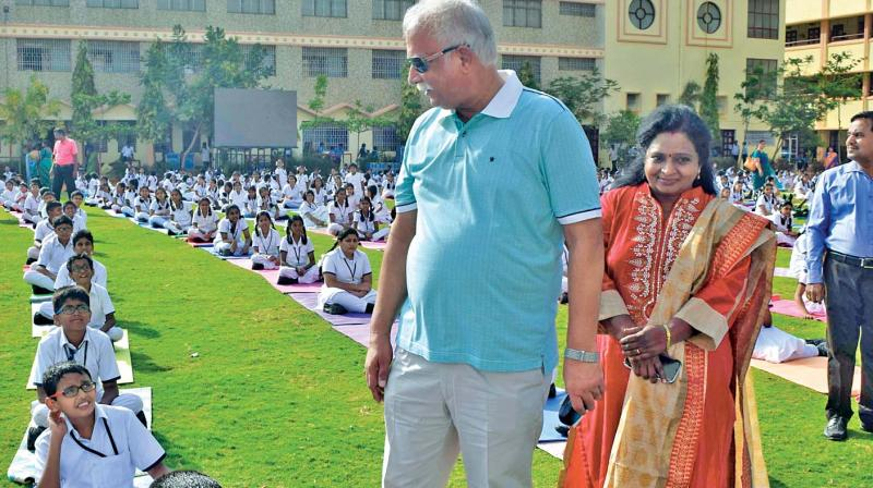 Union  minister Ashok  Gajapathi Raju at the International Day of Yoga celebrations in SBOA  School, Anna Nagar, on Wednesday. (Photo: DC)