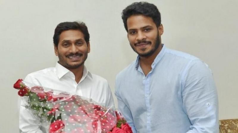 Jagan welcomed Nikhil Gowda and the two leaders had talks for some time. Nikhil, who is a former actor, said that the meeting was merely a courtesy call. (Photo: ANI)