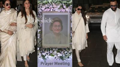 Members of the Kapoor family and stars from the film industry were seen arriving for the prayer meet of Krishna Raj Kapoor, who passed away recently, in Mumbai on Thursday. (Photos: Viral Bhayani)