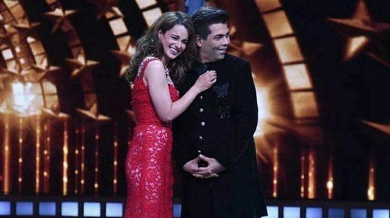 Kangana Ranaut and Karan Johar on the sets of 'India's Next Superstars.'