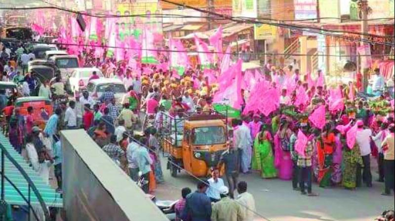 Ch Malla Reddy A TRS rally blocks the road in Jawaharnagar. Reports said an ambulance carrying a patient was stuck behind the rally and could not pass it.