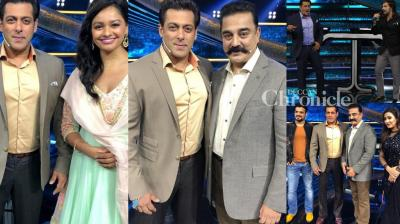 Kamal Haasan was the guest on Salman Khan's TV show 'Dus Ka Dum' along with stars from TV and music fraternity. (Photos: Viral Bhayani/ Twitter)
