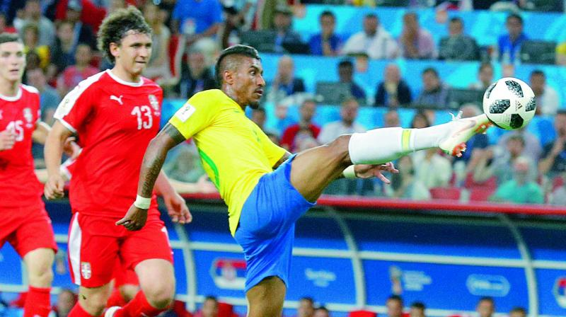 Paulinho scores Brazil's first goal during their Group 'E' match against Serbia at the Spartak Stadium in Moscow on Wednesday. (Photo: AP)