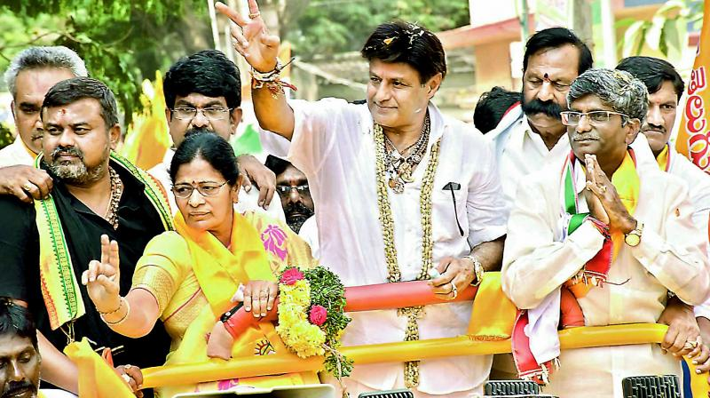 Balakrishna campaigning for his niece Suhasini who is representing the Telugu Desam party.