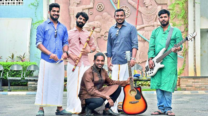 Vaishak Menon, Falak Chhaya, Krishnan Ganesan, Sagar Ramchandruni with Sweekar Agasthi (seated). The team is working on making a best costume, but for now dhoti has been a signature for them.