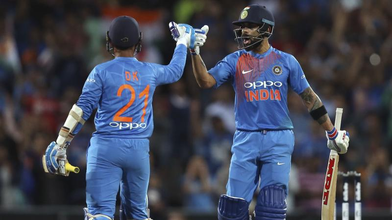 Even KL Rahul (14) and Rishabh Pant (0) could not perform, but that was not a problem for the Indian skipper as he along with Dinesh Karthik (22 not out) ensured that the visitors would cross the finish line.(Photo: AP)