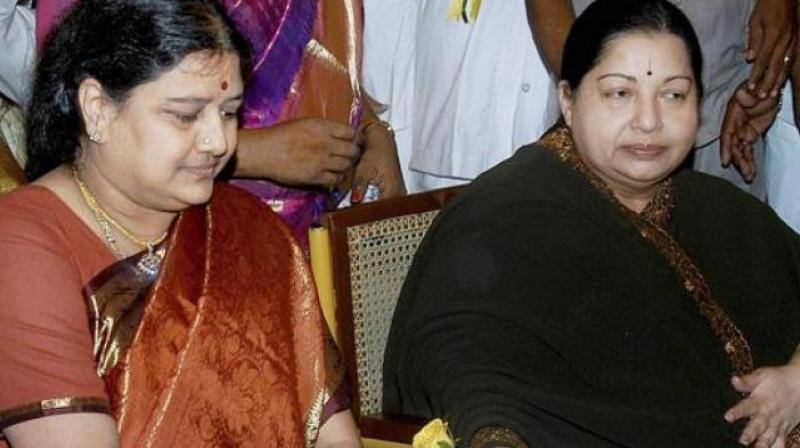 VK Sasikala with late Tamil Nadu chief minister Jayalalithaa (Photo: PTI/File)