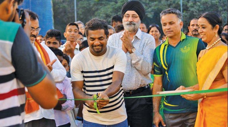 Sri Lankan star spinner Muttiah Muralitharan at the inauguration of VB's cricket academy in Chennai.(File photo)