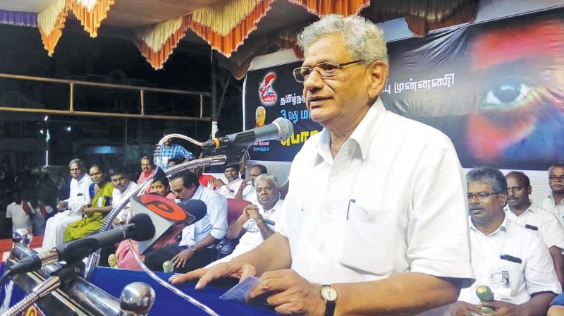 Sitaram Yechury, general secretary of CPI(M)  speaking at the state conference of Tamil Nadu Theendamai Ozhippu Munnani at Thanjavur. (DC)