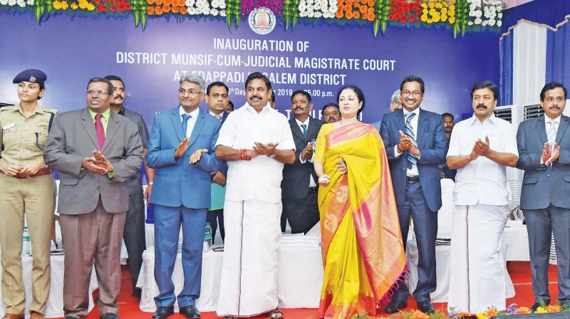 Madras high court Chief Justice Vijaya K Tahilramani unveils a plaque to inaugurate the new District-Munsif-Cum-Judicial Magistrate court at Edappadi near Salem on Sunday. High court judges  M M Sundaresh,  G.K. Ilanthirayan, Salem Principal District and Sesions Judge,  S. Kumaraguru, Chief Minister Edappadi K Palaniswami, Law minister C.Ve.Shanmugam, District collector S A Raman and district SP, Ms. Deepa Kanikar are present.