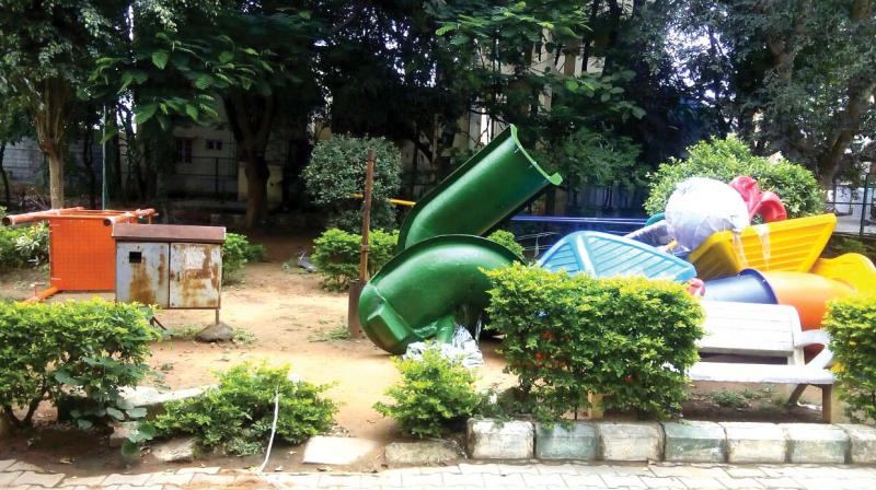 The BBMP park at MVJ Layout, Mahadevapura, where 13-year-old Priya lost her life. (Photo: R. Samuel)