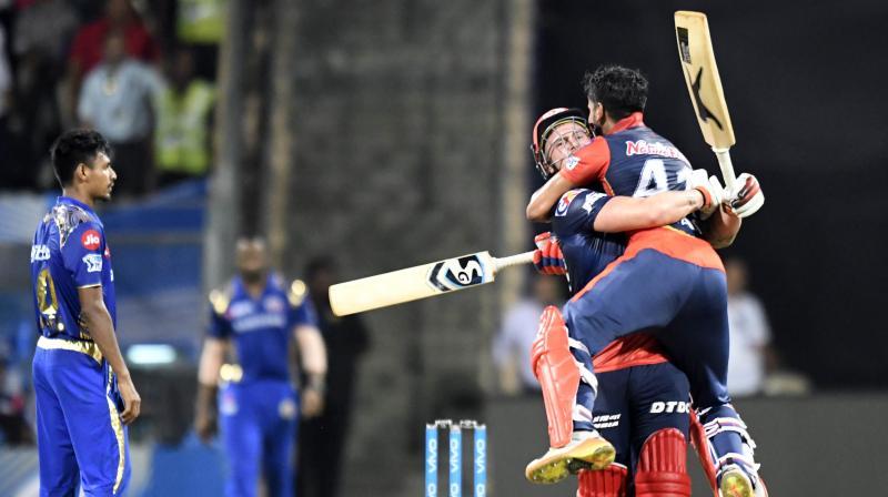 Jason Roy and Shreyas Iyer celebrate after winning the match against Mumbai Indians on Saturday. (Photo: Rajesh Jadhav)