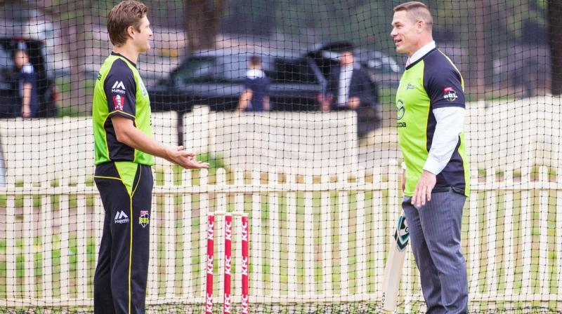 WWE superstar John Cena tries his hand at cricket