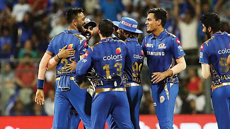Krunal Pandya (left) of Mumbai Indians celebrates the wicket of Sunrisers Hyderabad captain Kane Williamson during their match at the Wankhede Stadium in Mumbai on Thursday.(Photo:  BCCI)