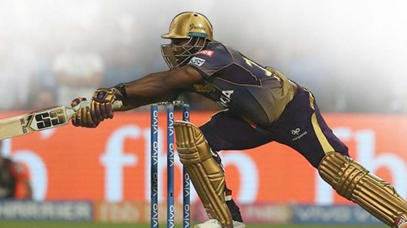 Andre Russell in action in this file photo. He will hold the key for Kolkata Knight Riders in their match against Kings XI Punjab in Mohali on Friday.