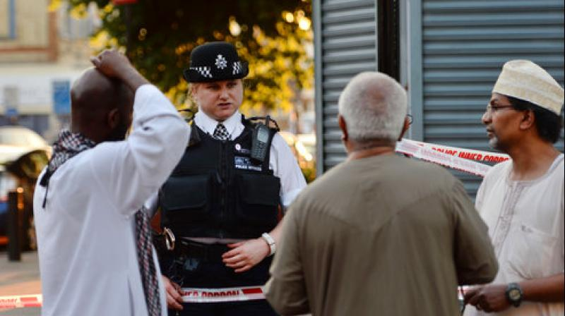 The hired vehicle swerved into a group of people leaving prayers shortly after midnight at the Finsbury Park Mosque, one of the biggest in the country, witnesses said. (Photo: AP)
