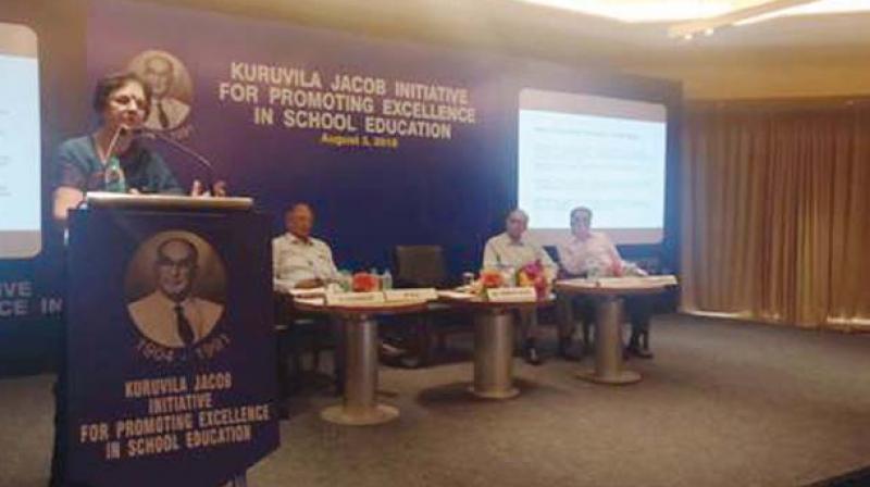Venita Kaul, former senior education specialist, speaks at the Kuruvila Jacob Initiative in Chennai. — DC