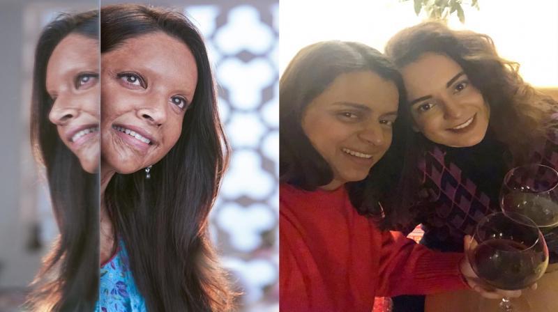 Kangana Ranaut's sister Rangoli Chandel praises Deepika Padukone after seeing her Chhapaak's look. (Photo: Twitter)
