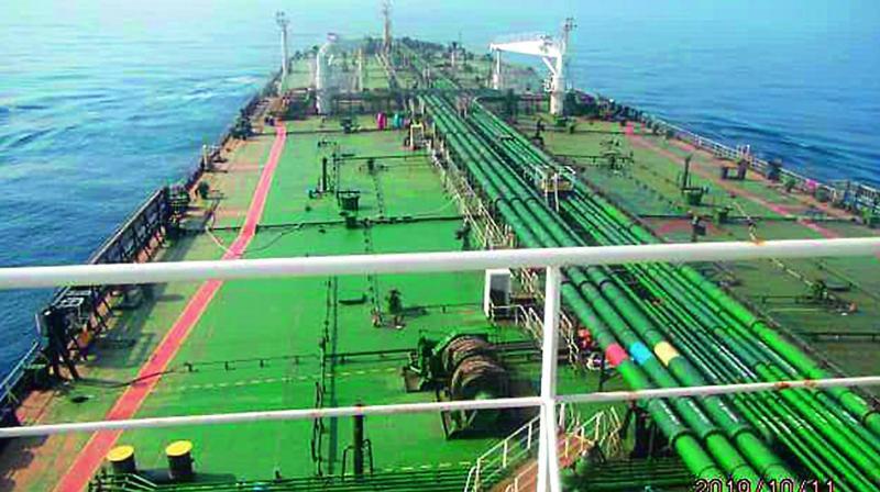 The Iranian crude oil tanker Sabiti sailing in the Red Sea. (Photo: AFP)