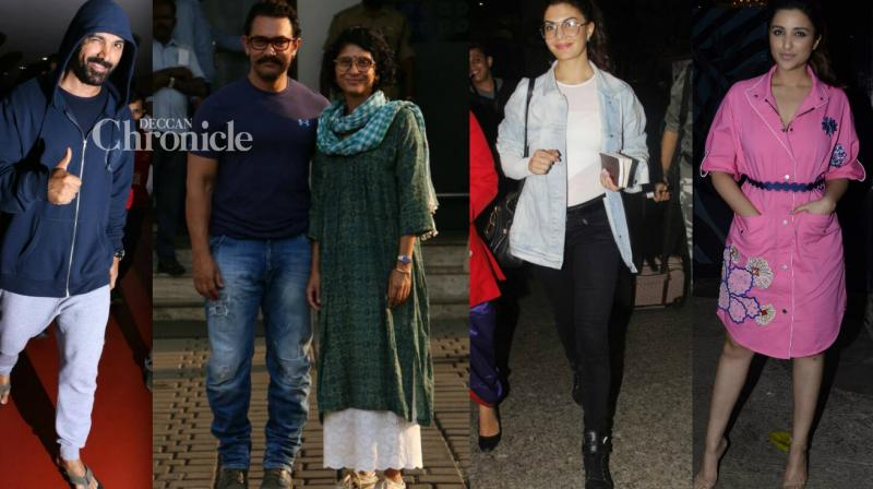 Bollywood celebrities were clicked by the paparazzi as they stepped out for professional and personal commitments in Mumbai on Monday. (Photo: Viral Bhayani)