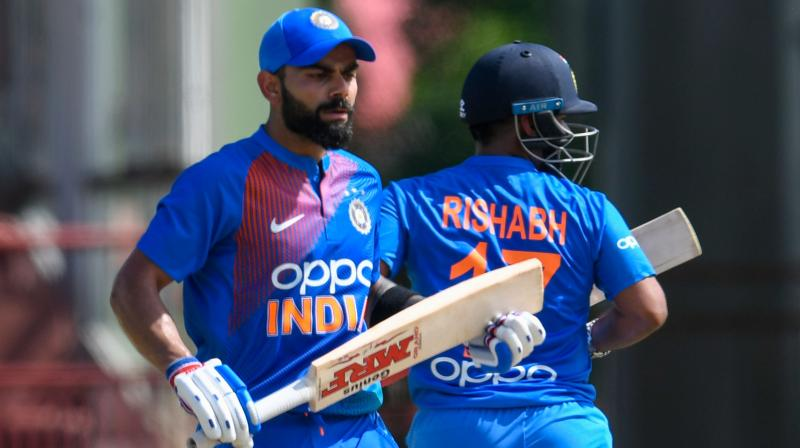 21-year-old Rishabh Pant, who is expected to Mahendra Singh Dhoni's successor was widely criticised for his shot selection in the first two games but came up trumps in third T20 International with a cracking 65 not out off 42 balls in company of his skipper Virat Kohli. (Photo:AFP)
