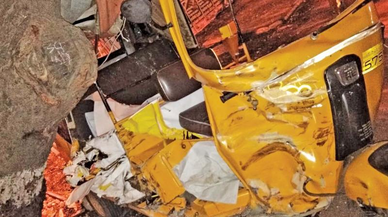 An auto-rickshaw that was damaged after actor Vikram's son Dhruv's car rams into it in the wee hours of Sunday near Alwarpet.  (Photo:DC)