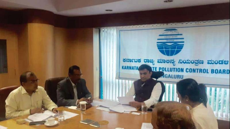 Dr K. Sudhakar, chairman, KSPCB, holding a review  meeting in Bengaluru (Photo: DC)