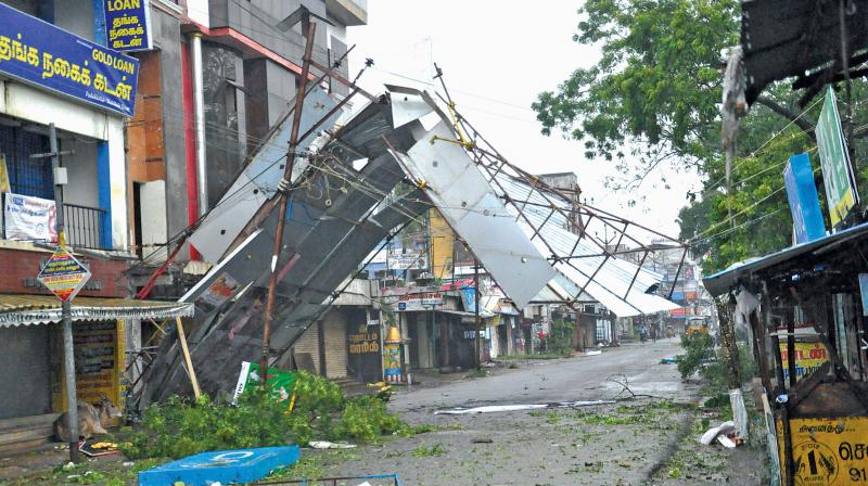A front portion of the steel structure of a private shop at Pudukkottai west street collapsed due to heavy wind on Friday.
