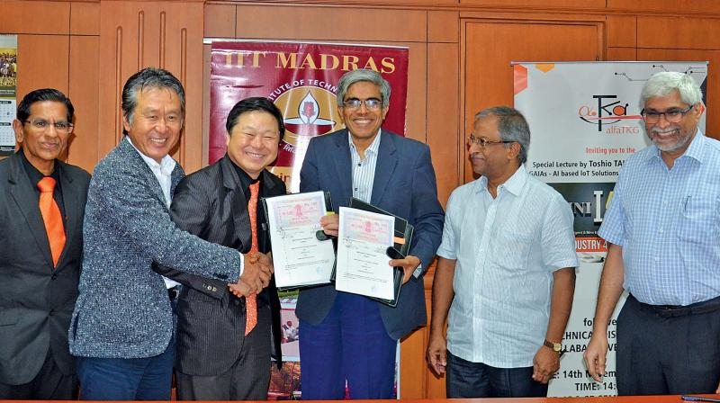 IIT Madras director Bhaskar Ramamurthi exchanges MoU with alfaTKG CEO Toshio Takagi and Okabe, manufacturing CEO Hiroaki Okabe on Wednesday here. Periasamy Thanapandi, CEO alfa Integrated solutions India pvt limited, Professor N.Ramesh Babu, head, Department of Mechanical Engineering, IIT Madras and Professor Ravindra Gettu, dean (Industrial Consultancy and Sponsored Research) are also seen. (Photo: DC)