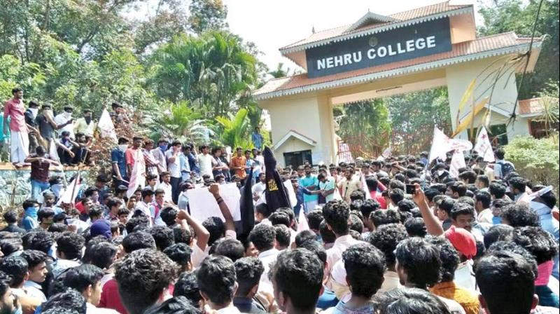 Students and activists of various student organisations hold protests on the campus of Nehru College of Engineering & Research Centre at Pampady on Monday.