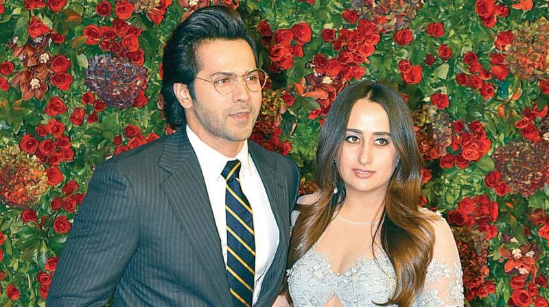 Varun Dhawan with his girlfriend.