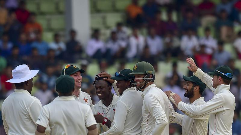 Left-arm spinner Maskadza took the final wicket of the innings, sending Ariful Haque for 38 as Zimbabwe notched their first Test win since beating Pakistan in Harare in 2013. (Photo: AFP)
