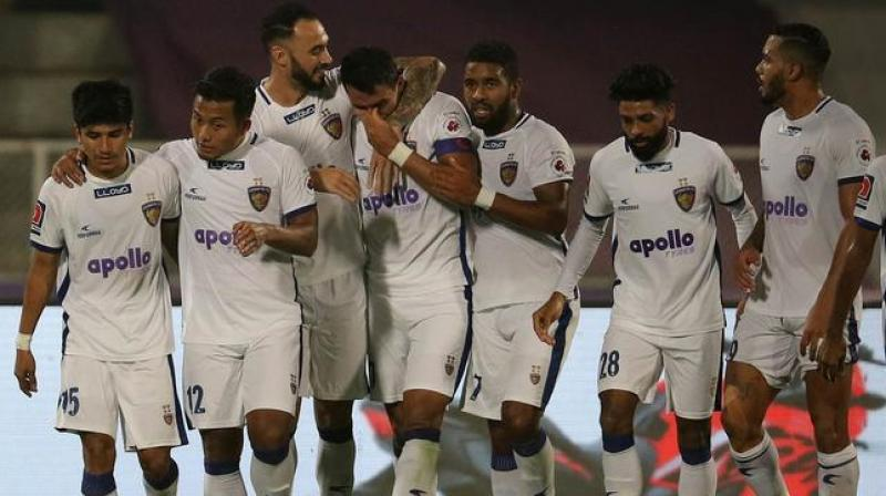 Chennaiyin deployed a high defensive line and the risk was evident after Robin exposed the chinks in their armour with a long through ball to Aashique Kuruniyan on the left who made no mistake to slot it home,  finding way past the weary legs of Karanjiat Singh for his maiden ISL goal. (Photo: ISL Media)