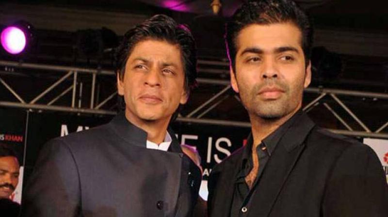 Shah Rukh Khan snapped with Karan Johar.