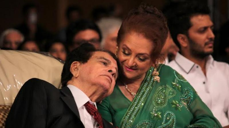 Saira Banu snapped with Dilip Kumar.