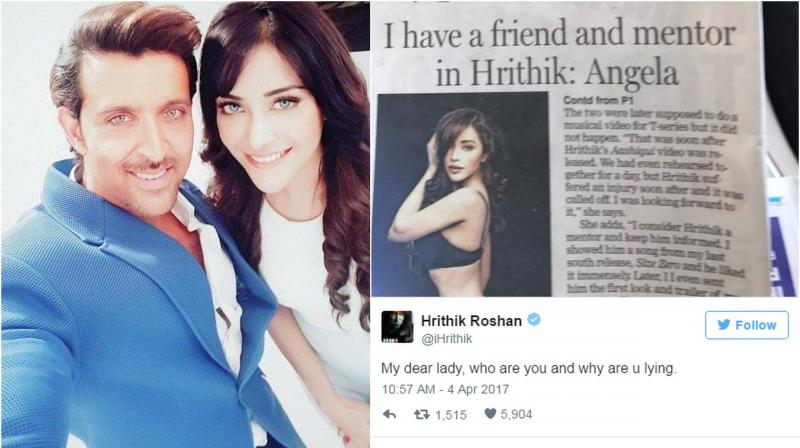 """Refuting to her claims the 'Kaabil' star tweeted, """"My dear lady, who are you and why are u lying."""""""