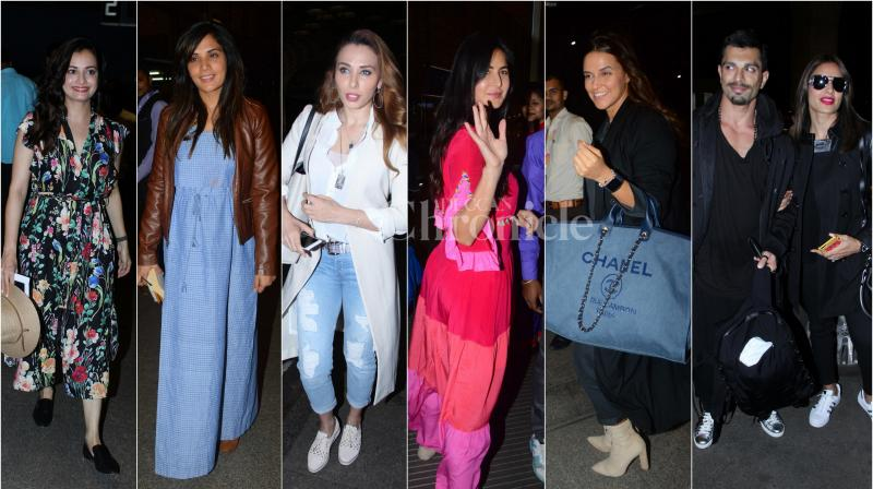 On Wednesday night, our shutterbug spotted beautiful ladies of Bollywood, smiling and posing for the camera as they strolled off to a new destination. (Photo: Viral Bhayani)